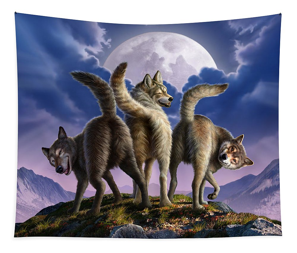 Wolf Tapestry featuring the digital art 3 Wolves Mooning by Jerry LoFaro