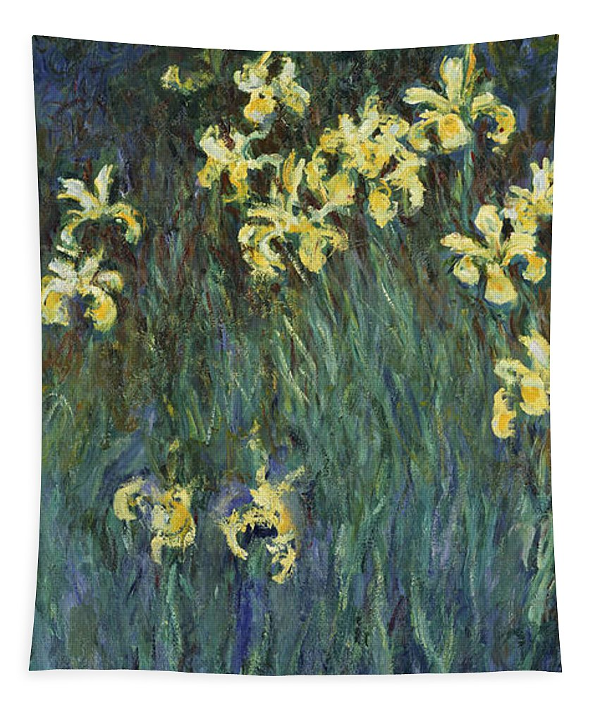 Claude Monet.monet Tapestry featuring the painting Yellow Irises by Claude Monet