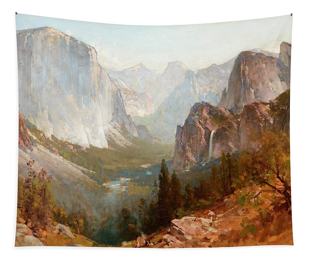 Yosemite Valley Tapestry featuring the painting Yosemite Valley by Thomas Hill