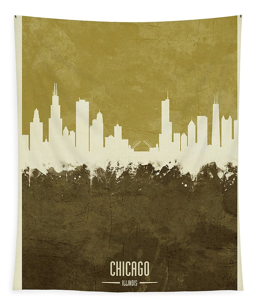 Chicago Tapestry featuring the digital art Chicago Illinois Skyline by Michael Tompsett