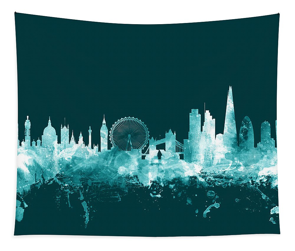 London Tapestry featuring the digital art London England Skyline by Michael Tompsett