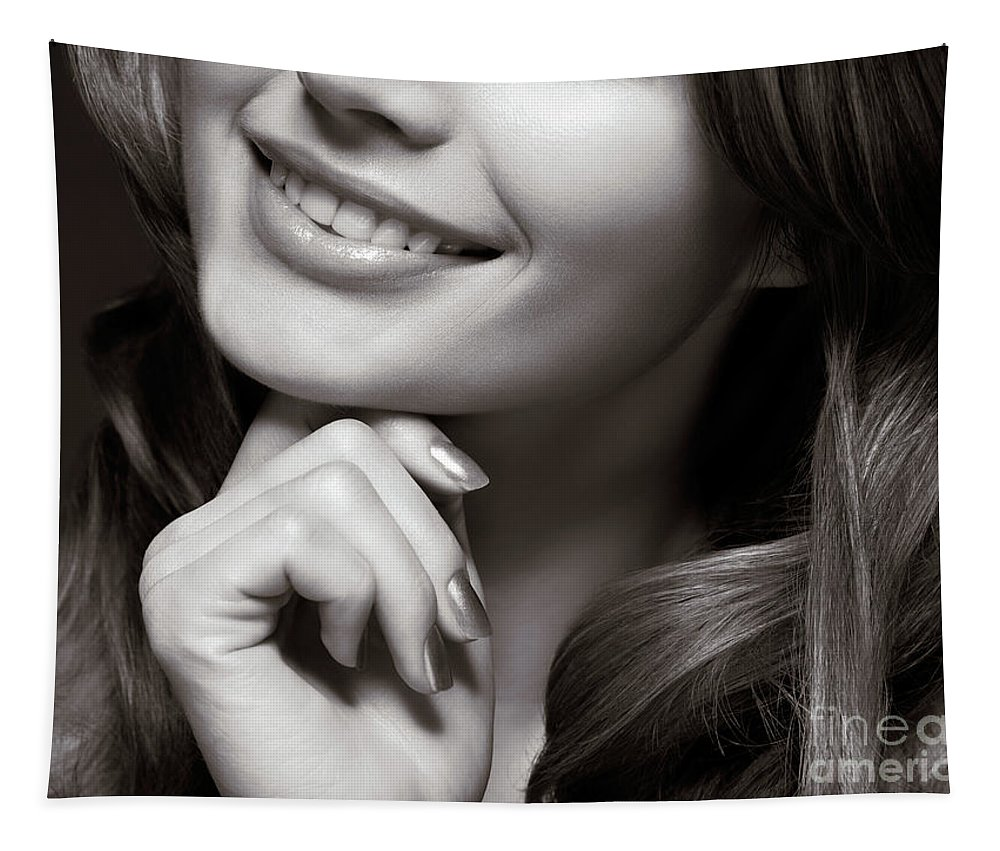 Beauty Tapestry featuring the photograph Beautiful Young Smiling Woman by Oleksiy Maksymenko