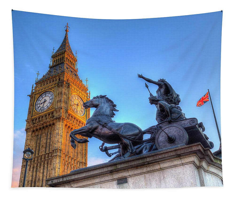 Digital Tapestry featuring the photograph Big Ben And Boadicea Statue by David Pyatt