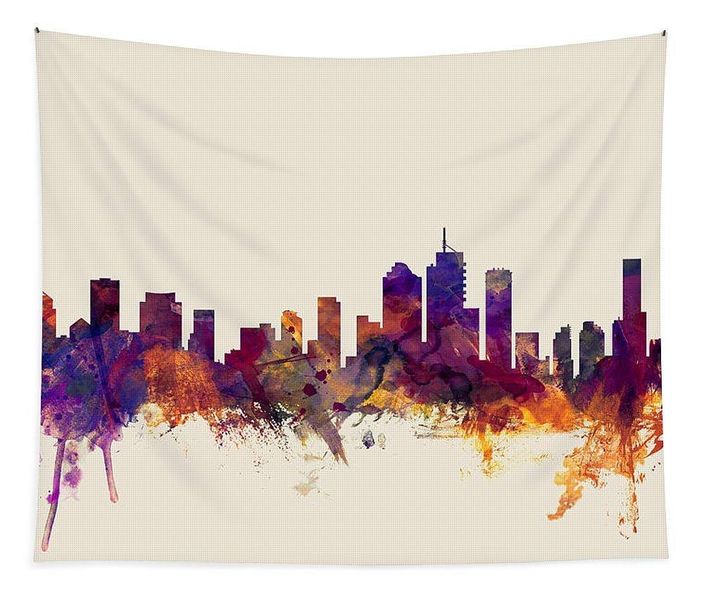 Brisbane Tapestry featuring the digital art Brisbane Australia Skyline by Michael Tompsett