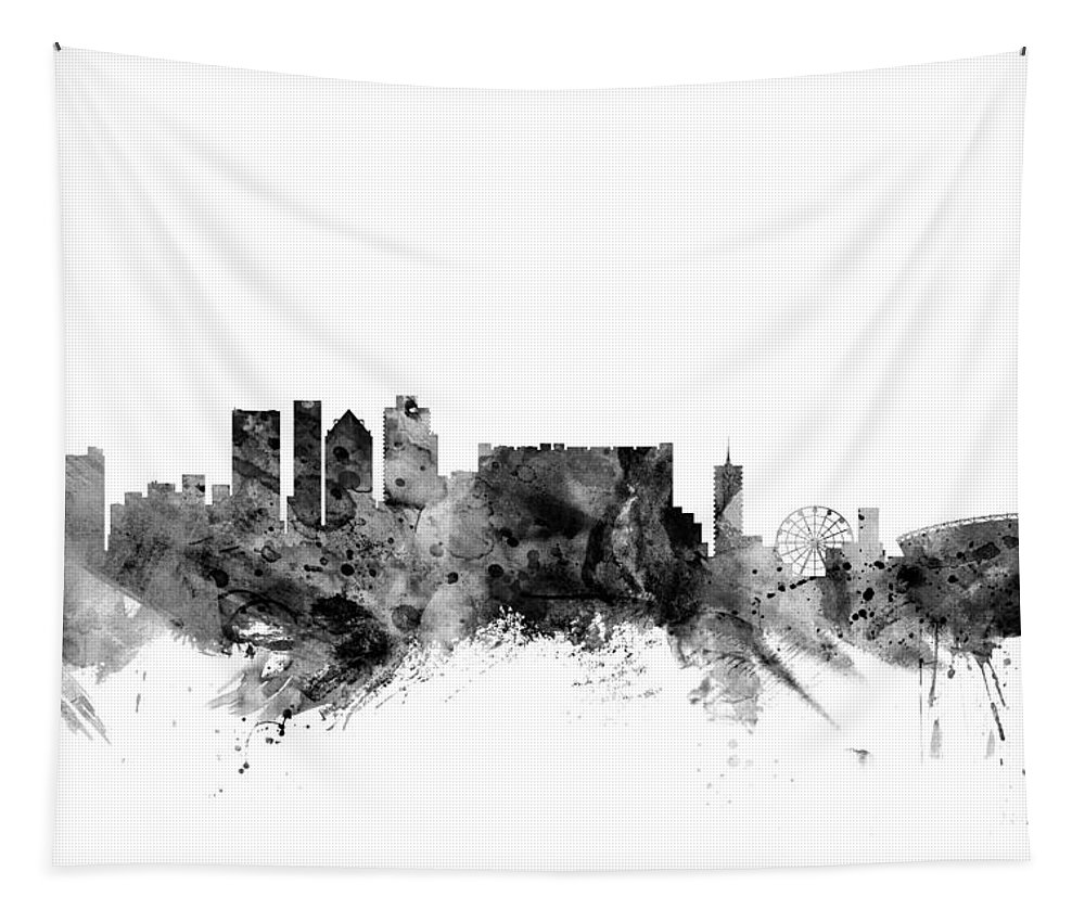 City Tapestry featuring the digital art Cape Town South Africa Skyline by Michael Tompsett