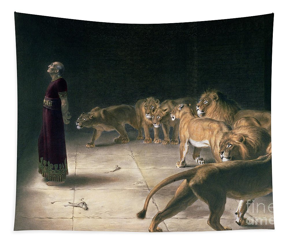 Daniel In The Lions Den Tapestry featuring the painting Daniel In The Lions Den by Briton Riviere