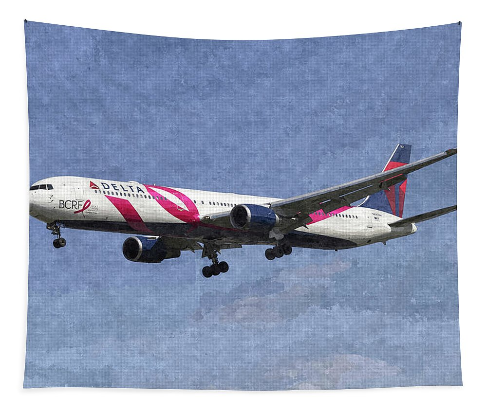 Delta Tapestry featuring the photograph Delta Airlines Boeing 767 Art by David Pyatt