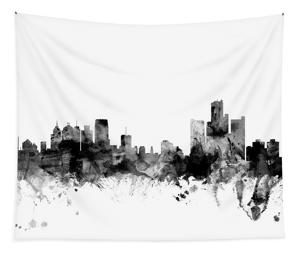 United States Tapestry featuring the digital art Detroit Michigan Skyline by Michael Tompsett