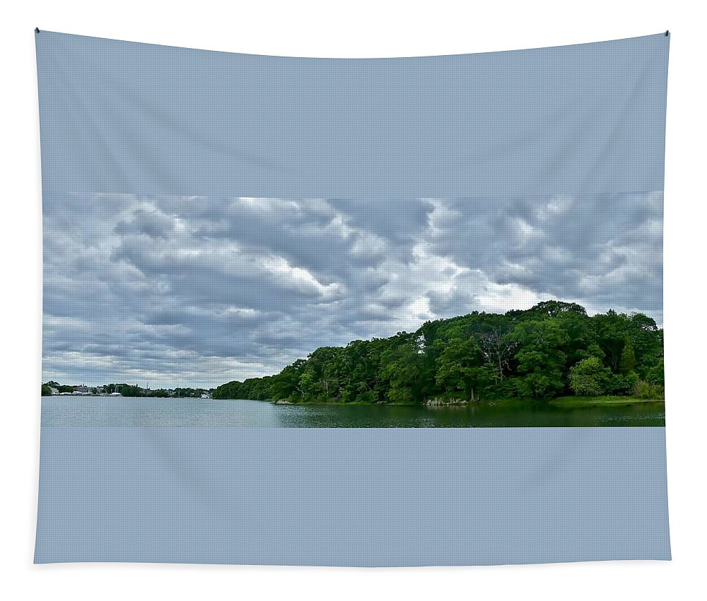 Panorama Tapestry featuring the photograph Green's Hill And The Bass River by Scott Hufford