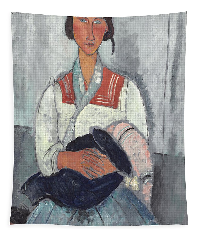 Amedeo Modigliani Tapestry featuring the painting Gypsy Woman With Baby by Amedeo Modigliani