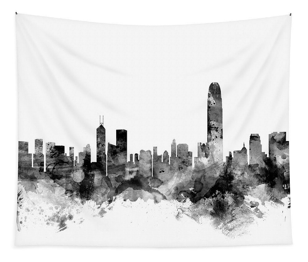 Watercolour Tapestry featuring the digital art Hong Kong Skyline by Michael Tompsett
