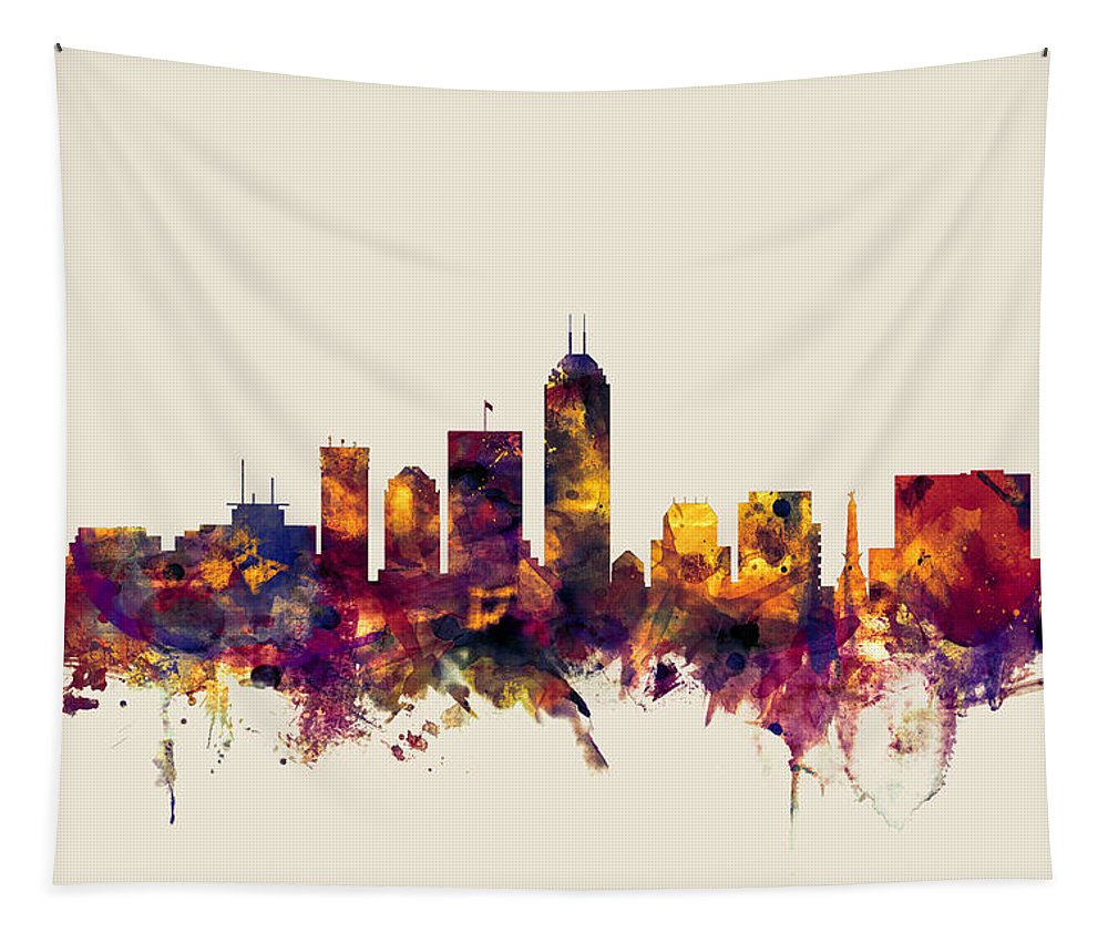 United States Tapestry featuring the digital art Indianapolis Indiana Skyline by Michael Tompsett