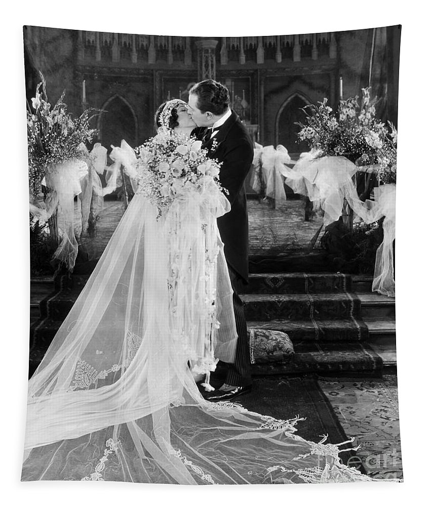 -weddings & Gowns- Tapestry featuring the photograph Silent Film Still: Wedding by Granger