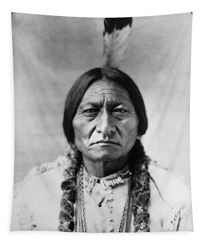 19th Century Tapestry featuring the photograph Sitting Bull 1834-1890. To License For Professional Use Visit Granger.com by Granger