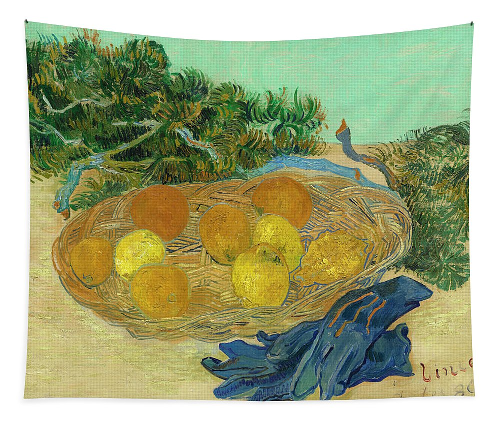 Vincent Van Gogh Tapestry featuring the painting Still Life Of Oranges And Lemons With Blue Gloves by Vincent Van Gogh