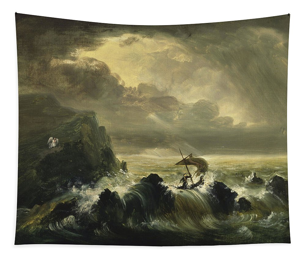 Painting Tapestry featuring the painting The Voyage Of Life - Manhood by Thomas Cole