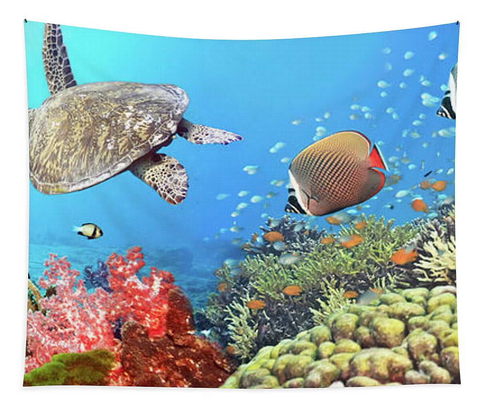 Butterflyfish Tapestry featuring the photograph Underwater Panorama by MotHaiBaPhoto Prints
