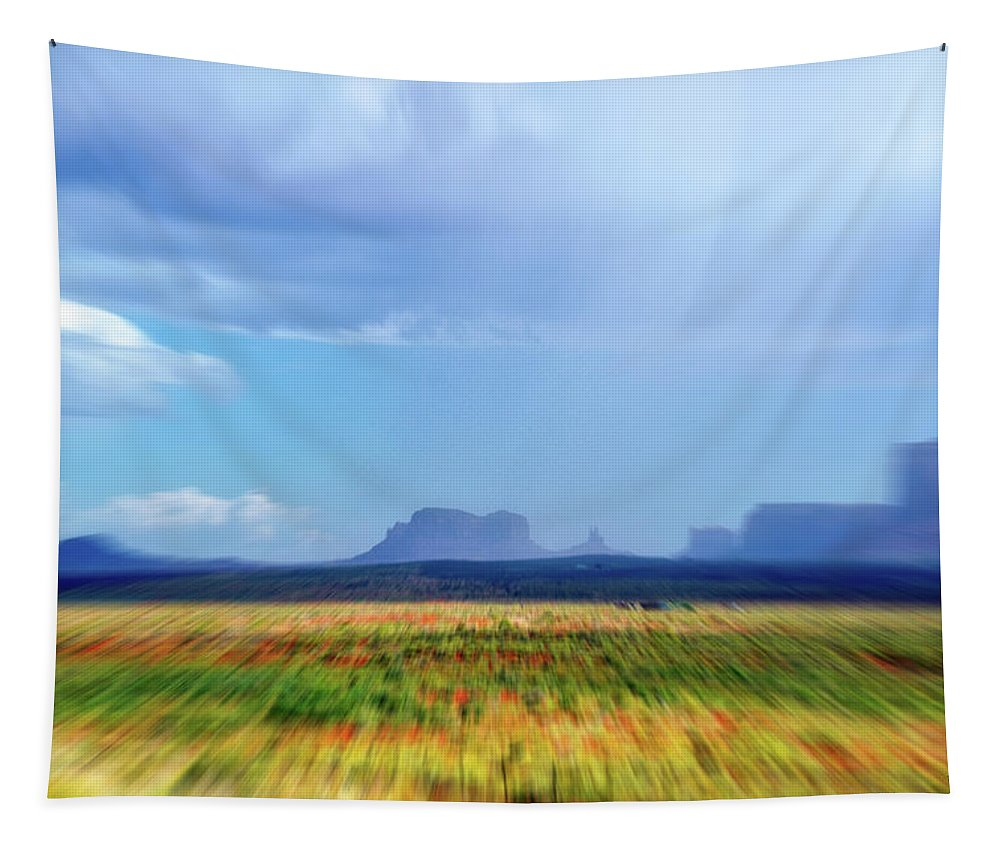 Monument Valley Tapestry featuring the mixed media 4 Wheeling With The Storm Cell Approaching Monument Valley 06 4 by Thomas Woolworth