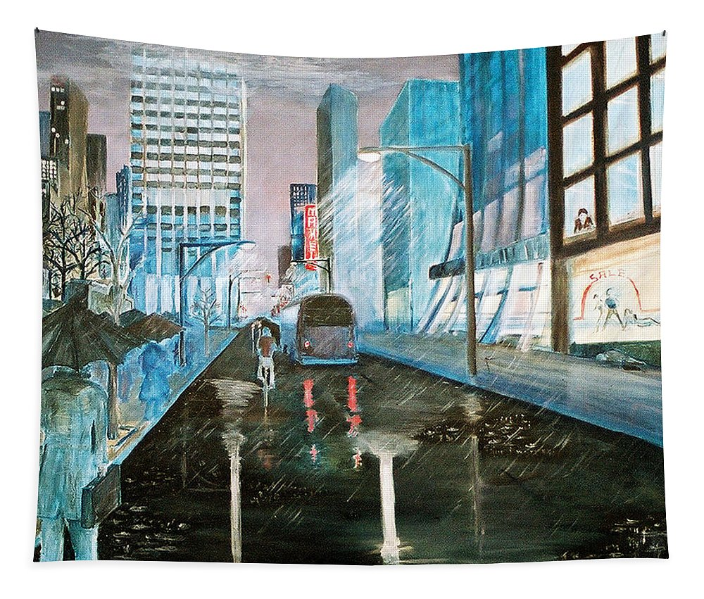 Street Scape Tapestry featuring the painting 42nd Street Blue by Steve Karol