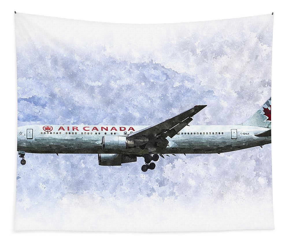 Air Canada Tapestry featuring the photograph Air Canada Boeing 777 Art by David Pyatt