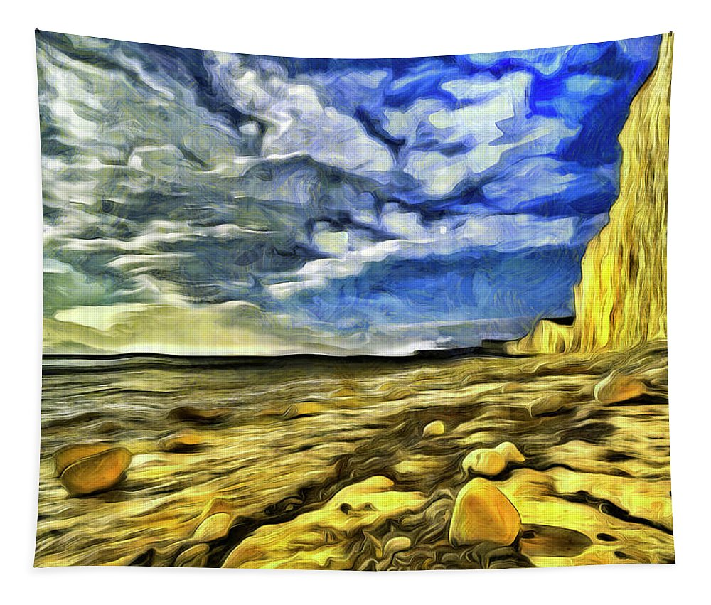 England Van Gogh Tapestry featuring the photograph Birling Gap And Seven Sisters Art by David Pyatt