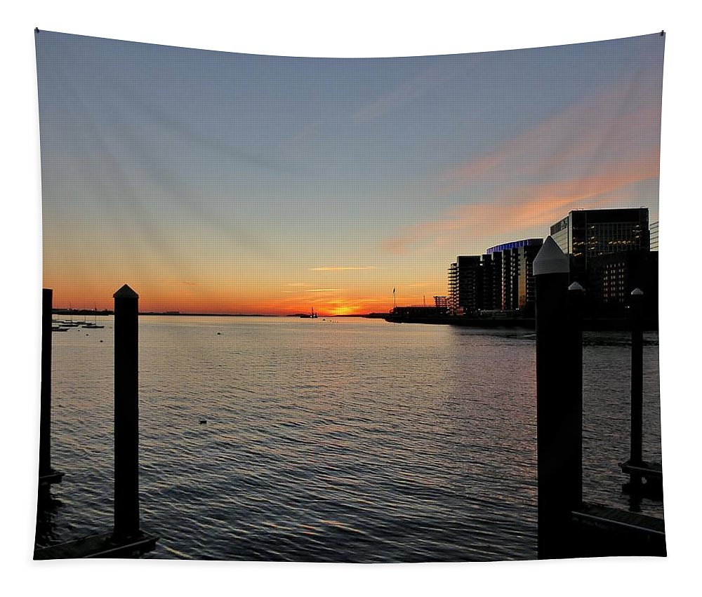 Dawn Tapestry featuring the photograph Boston Harbor Dawn by Scott Hufford