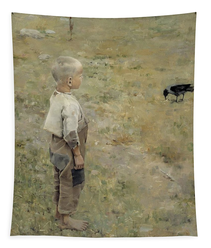 Painting Tapestry featuring the painting Boy With A Crow by Mountain Dreams
