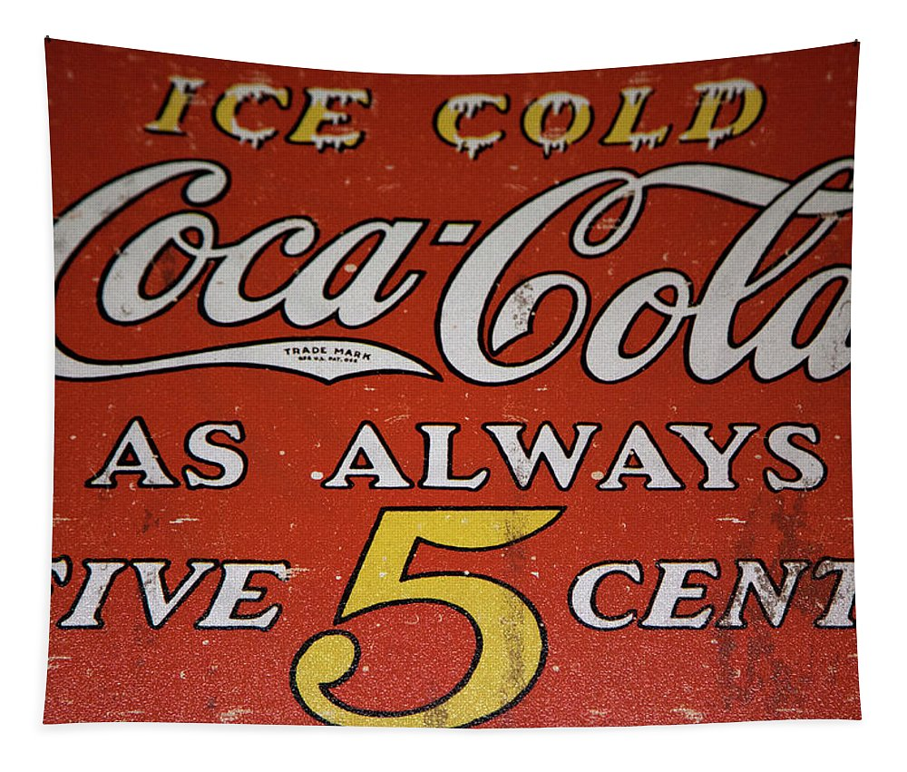 5 Cent Coca Cola Tapestry featuring the mixed media 5 Cent Coca Cola by David Millenheft
