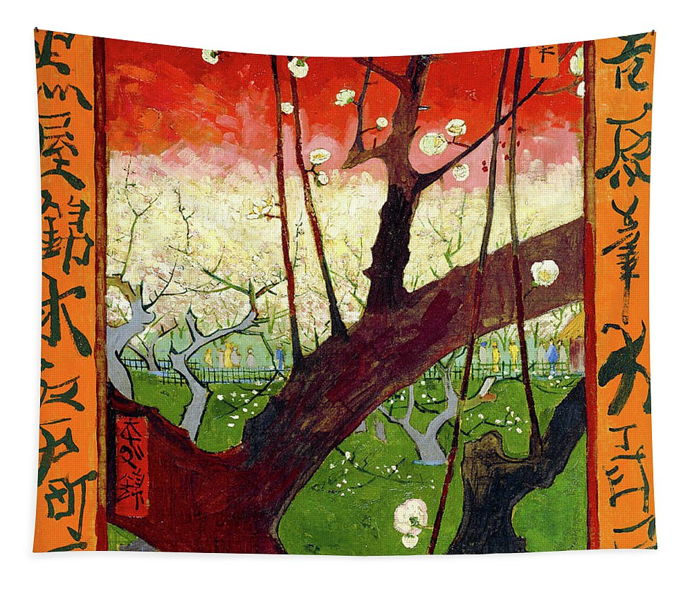 Vincent Van Gogh Tapestry featuring the painting Flowering Plum Tree by Vincent Van Gogh