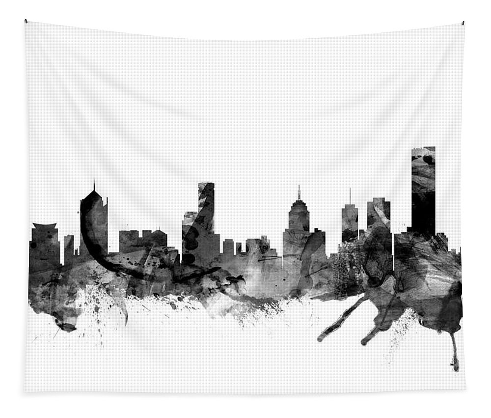 Melbourne Tapestry featuring the digital art Melbourne Skyline by Michael Tompsett