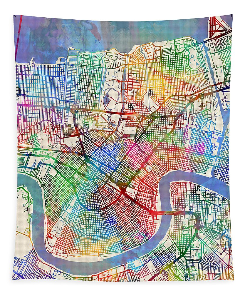 Street Map Tapestry featuring the digital art New Orleans Street Map by Michael Tompsett