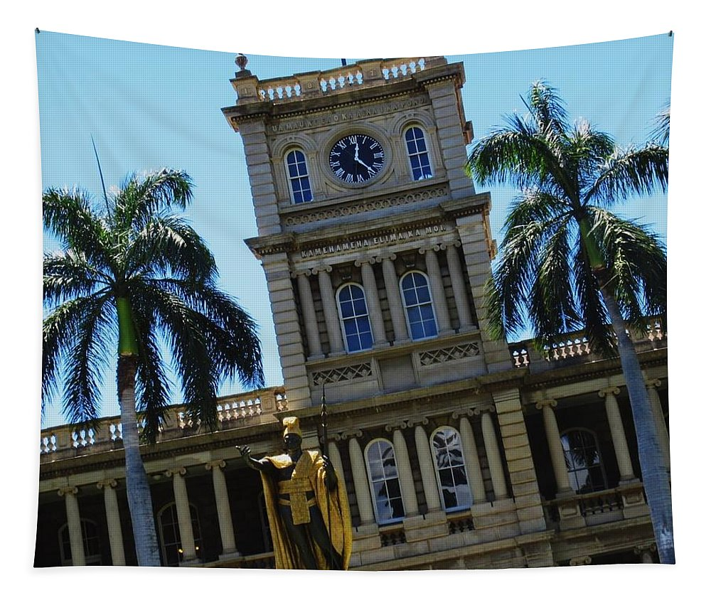 Hawaii Tapestry featuring the photograph 5 O Headquarters by Maria Keady