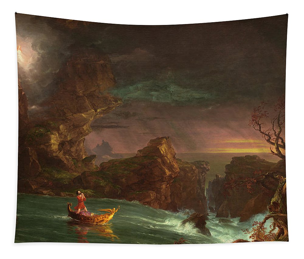 Thomas Cole Tapestry featuring the painting The Voyage Of Life, Manhood by Thomas Cole