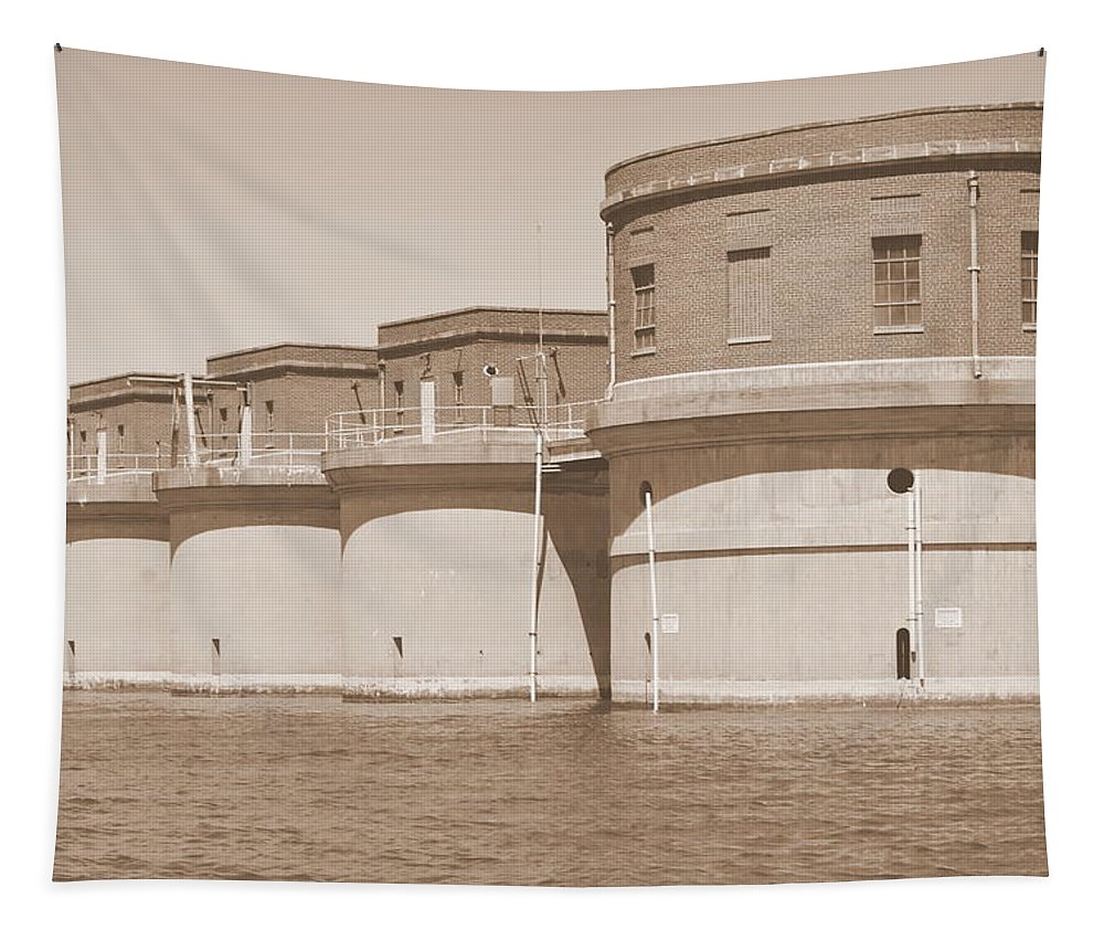 5 Towers Of Lake Murray Sc Sepia Tapestry featuring the photograph 5 Towers Of Lake Murray Sc Sepia by Lisa Wooten