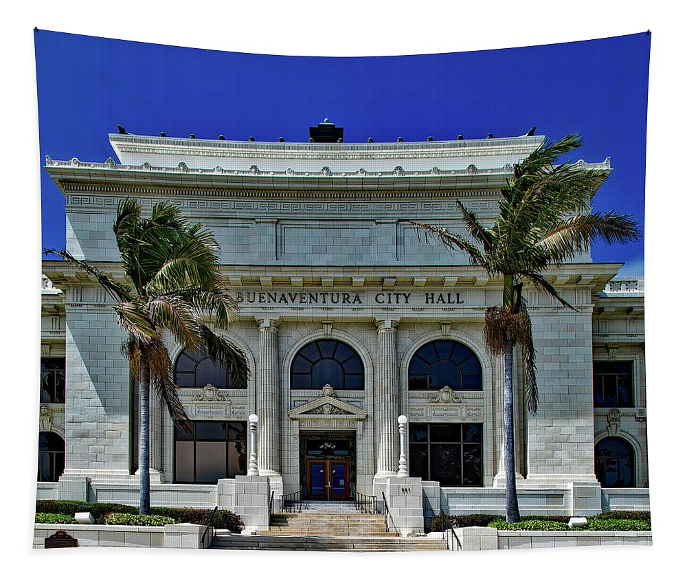 Ventura Tapestry featuring the photograph Ventura City Hall by Mountain Dreams