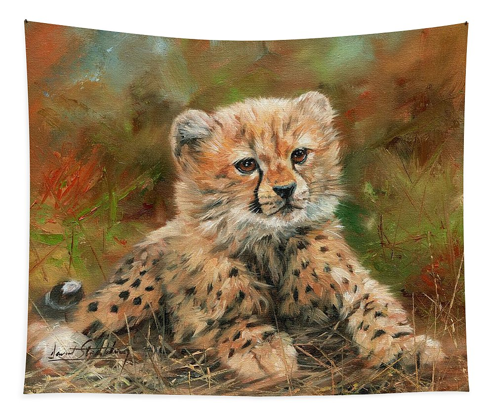 Cheetah Tapestry featuring the painting Cheetah Cub by David Stribbling