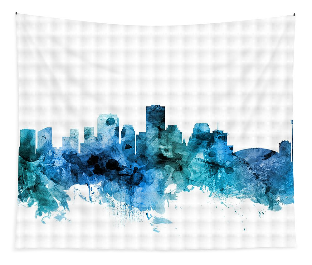 New Orleans Tapestry featuring the digital art New Orleans Louisiana Skyline by Michael Tompsett
