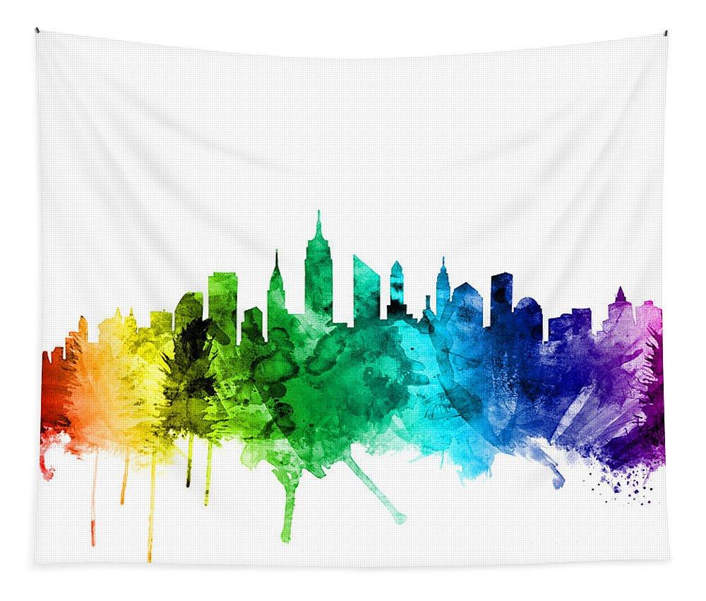 New York Tapestry featuring the digital art New York City Skyline by Michael Tompsett
