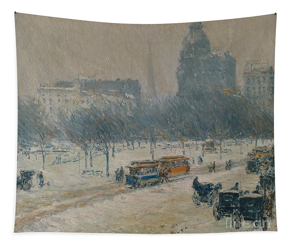 Childe Hassam Tapestry featuring the painting Winter In Union Square by Childe Hassam