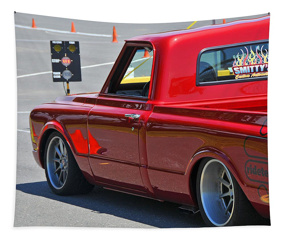 1967 Tapestry featuring the photograph '67 Chevy C10 Awaits Green Light by Mike Martin