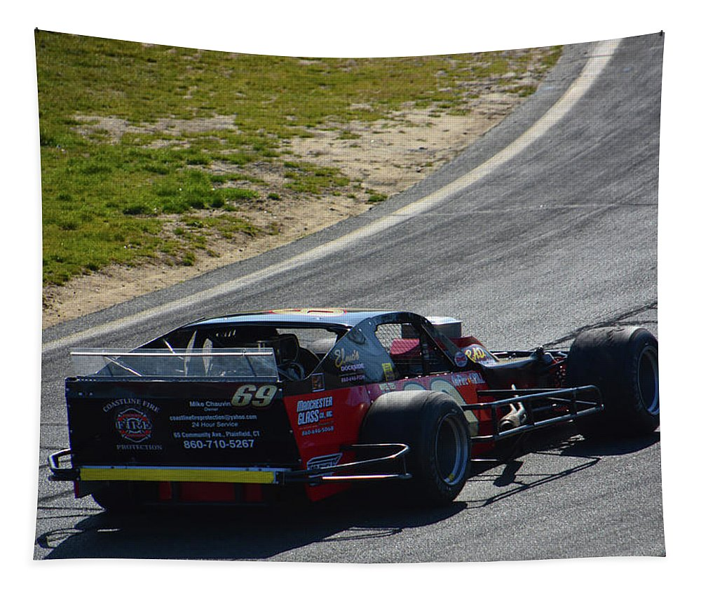 Motorsports Tapestry featuring the photograph 69 Enters Turn by Mike Martin