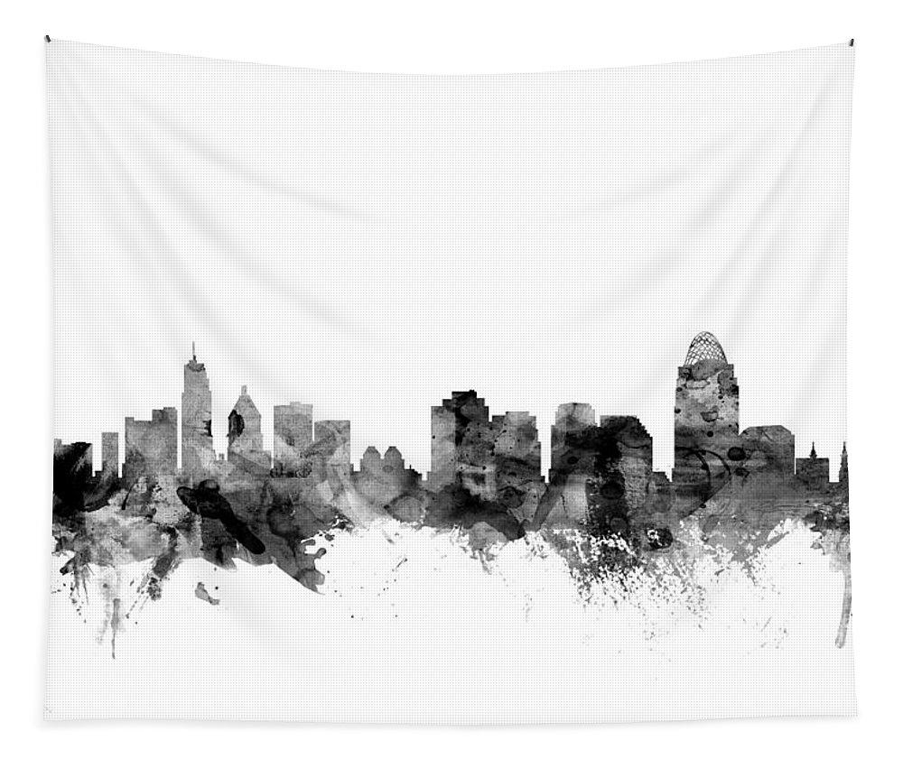 United States Tapestry featuring the digital art Cincinnati Ohio Skyline by Michael Tompsett