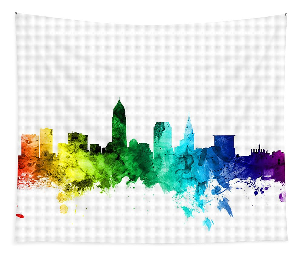 United States Tapestry featuring the digital art Cleveland Ohio Skyline by Michael Tompsett