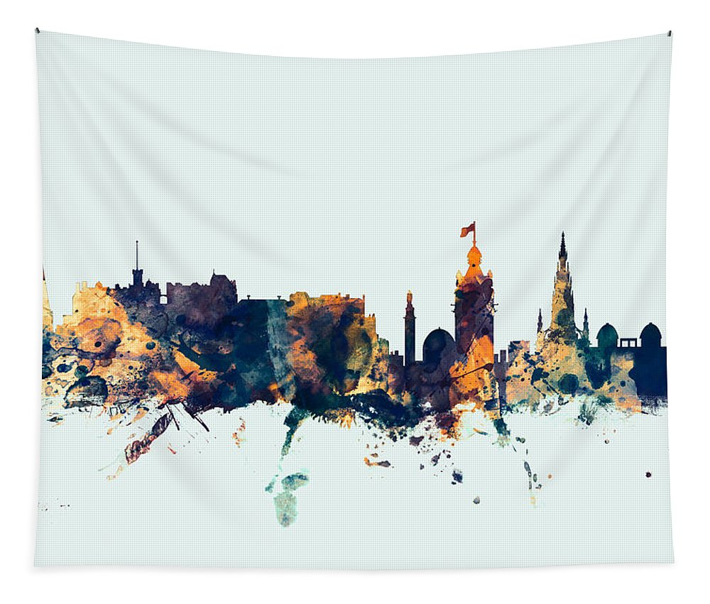 City Tapestry featuring the digital art Edinburgh Scotland Skyline by Michael Tompsett
