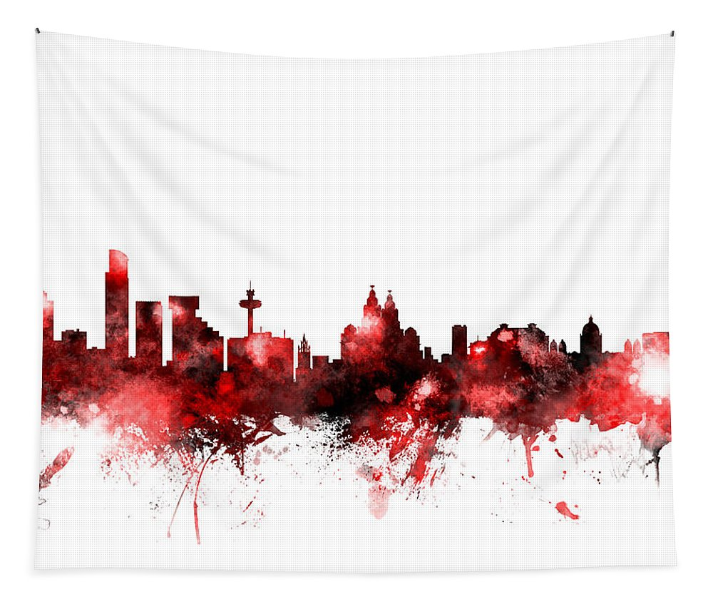 City Tapestry featuring the digital art Liverpool England Skyline by Michael Tompsett