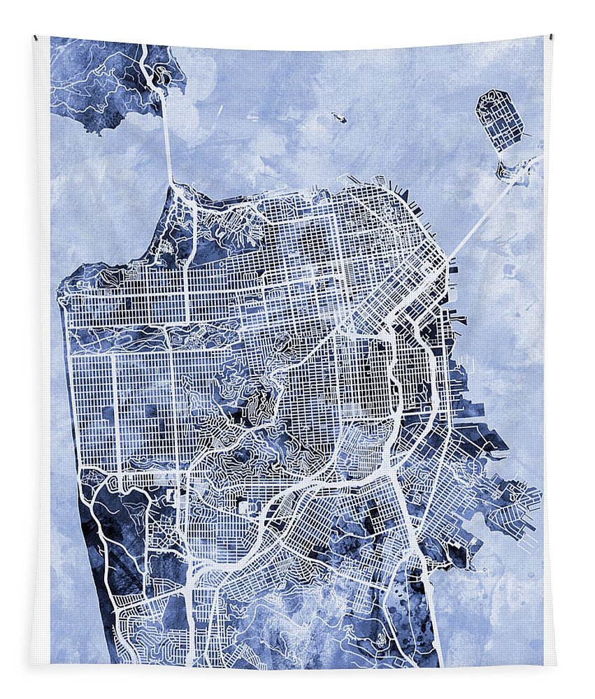 San Francisco Tapestry featuring the digital art San Francisco City Street Map by Michael Tompsett