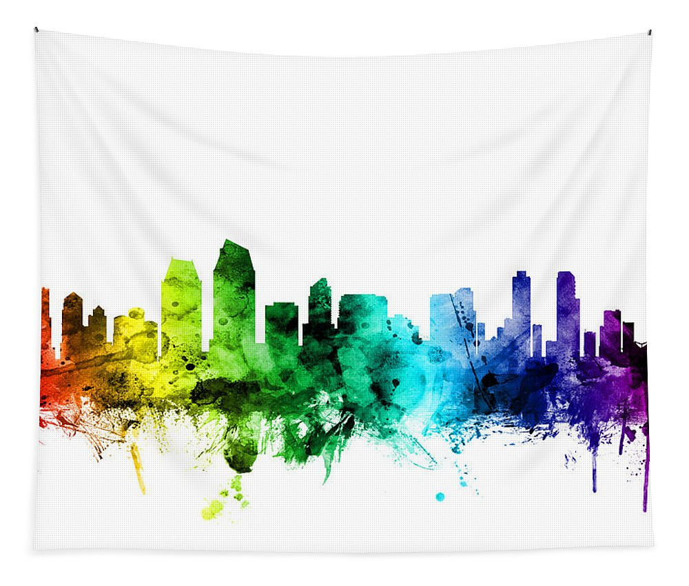 United States Tapestry featuring the digital art San Diego California Skyline by Michael Tompsett