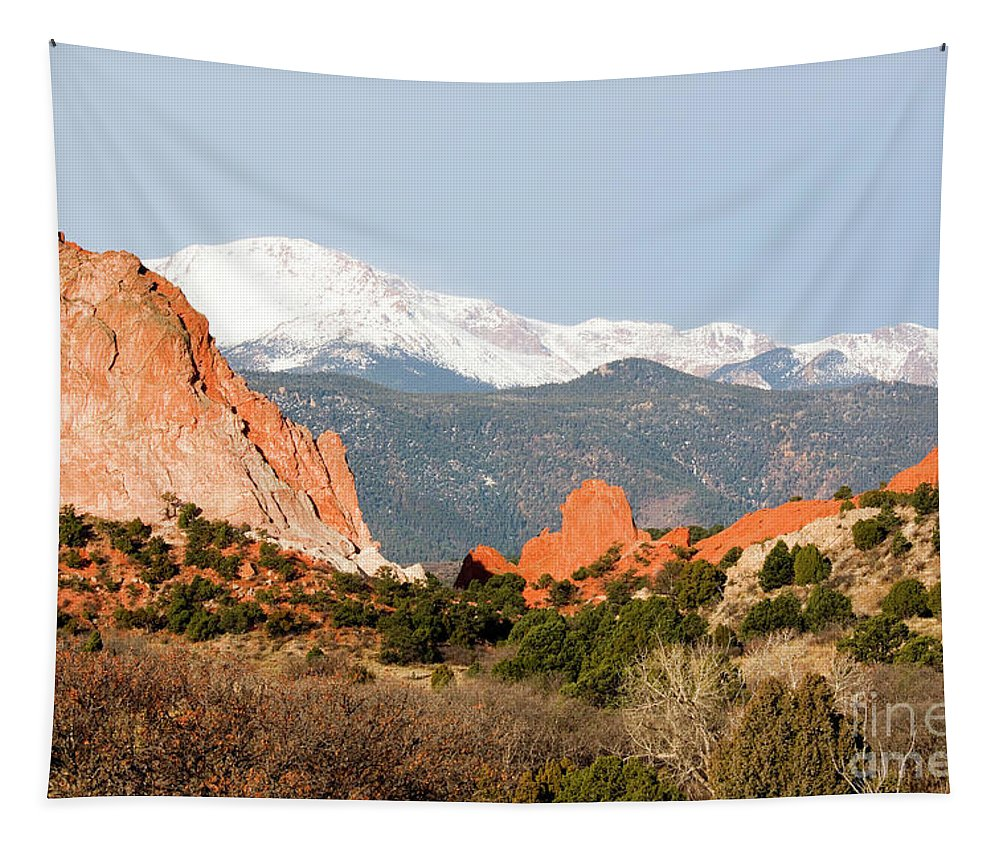 Beautiful Tapestry featuring the photograph Garden Of The Gods And Pikes Peak by Steve Krull