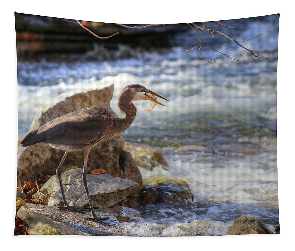 Great Blue Heron Tapestry featuring the photograph Great Blue Heron by Michael Munster