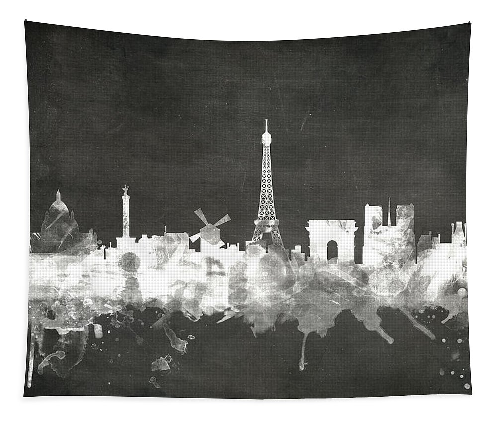 Paris Tapestry featuring the digital art Paris France Skyline by Michael Tompsett